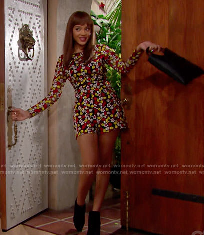 Nicole's floral embroidered romper on The Bold and the Beautiful