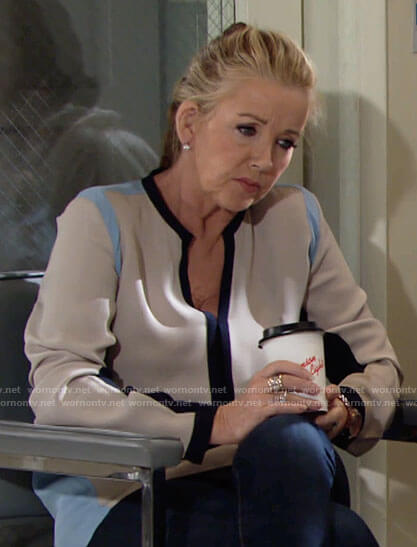 Nikki's colorblock blouse on The Young and the Restless