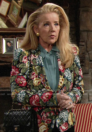 Nikki's floral blazer on The Young and the Restless