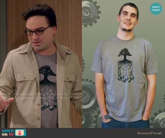 niteowlink Tree Cog T-shirt worn by Johnny Galecki on The Big Bang Theory