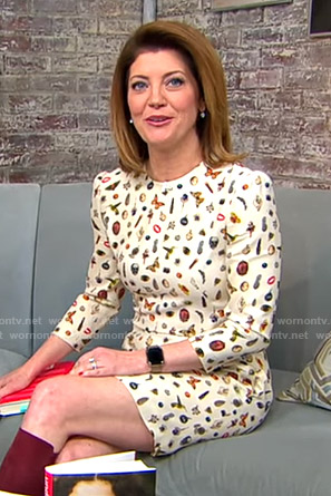 Norah's white icon print dress on CBS This Morning