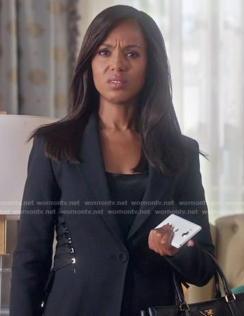Olivia's black blazer with lace-up sides on Scandal