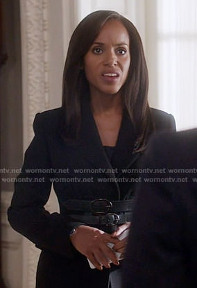 Olivia's black belted blazer on Scandal
