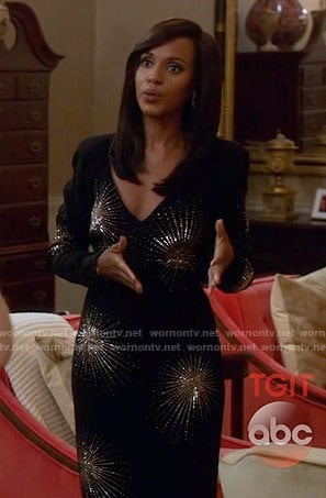 Olivia's black embellished long sleeve gown on Scandal