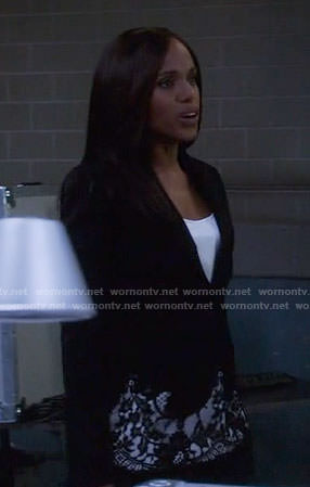 Olivia's black lace trim blazer on Scandal