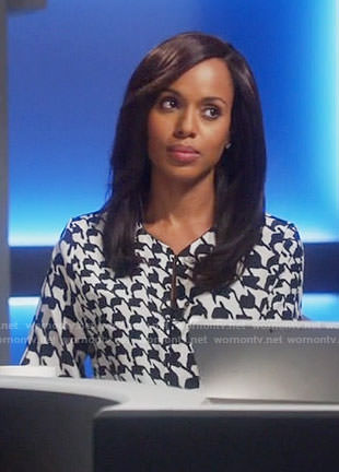 Olivia's houndstooth print blouse on Scandal