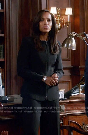 Olivia's black zip front jacket on Scandal