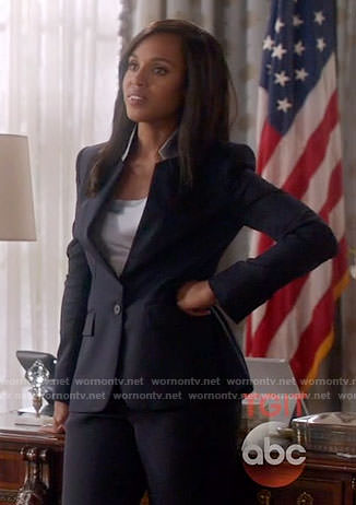 Olivia's navy suit with grey collar on Scandal