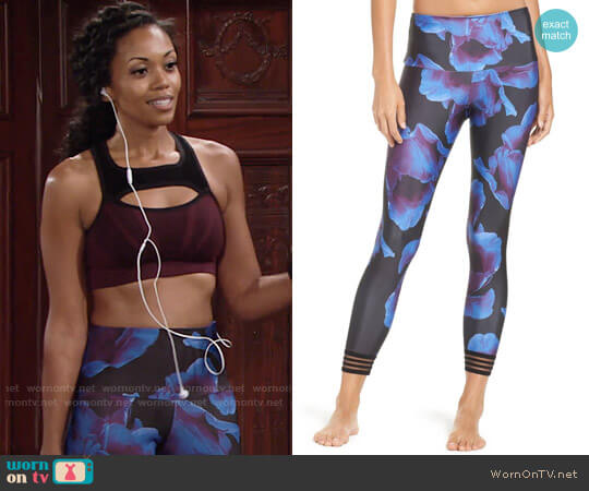 Onzie Ritz Crop Leggings in Midnight Anemone worn by Hilary Curtis (Mishael Morgan) on The Young & the Restless