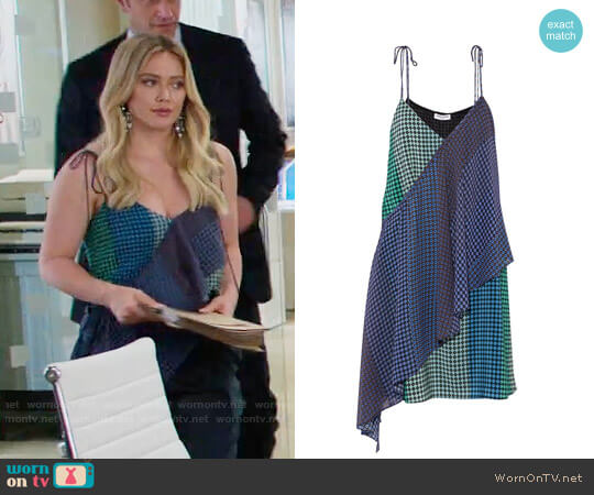 Opening Ceremony Foulard printed wrap-effect silk-twill mini dress worn by Hilary Duff on Younger