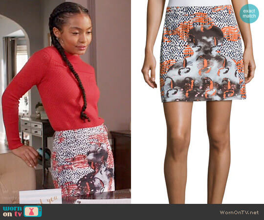 Opening Ceremony Western Mini Cotton Skirt worn by Yara Shahidi on Blackish
