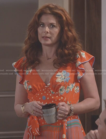 Grace's orange floral print waist tie dress on Will and Grace