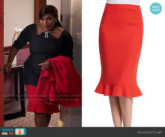 Oscar de la Renta Wool Ruffle-Hem Pencil Skirt worn by Mindy Kaling on The Mindy Project