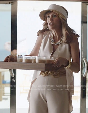 Pamela's beige ruffled jumpsuit on Last Man on Earth
