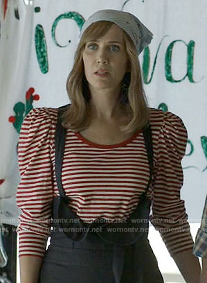 Pamela's red striped puff-sleeve top on Last Man on Earth