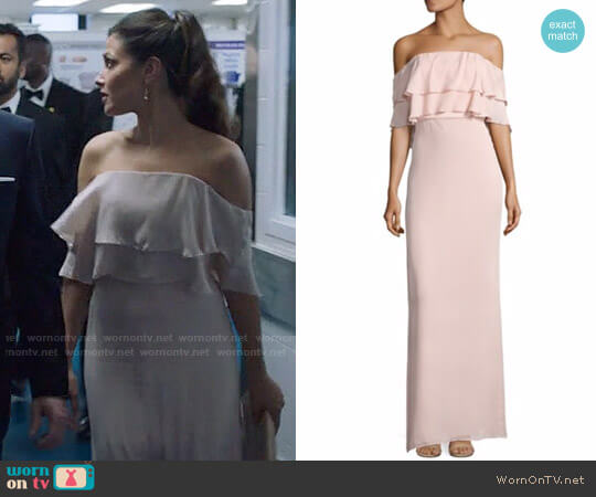 Parker Black Helen Gown in Blush worn by Emily Rhodes (Italia Ricci) on Designated Survivor