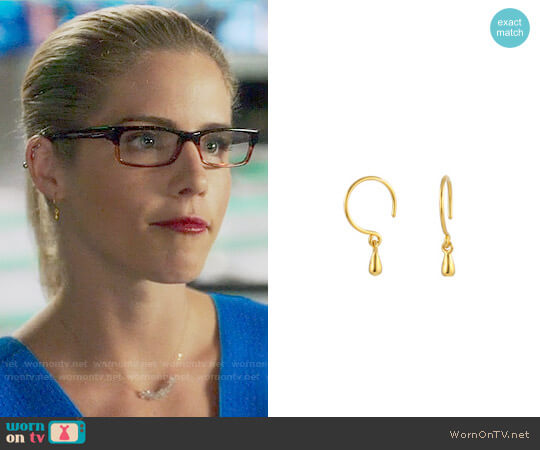 Peggy Li Tiny Droplet Earrings worn by Felicity Smoak (Emily Bett Rickards) on Arrow