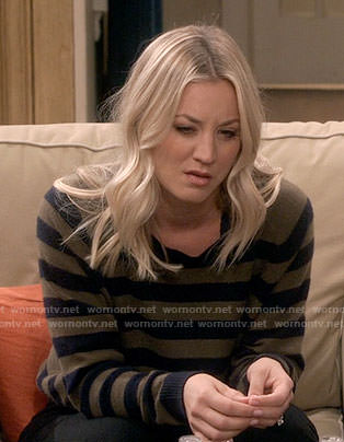 Penny's olive green and navy striped sweater on The Big Bang Theory
