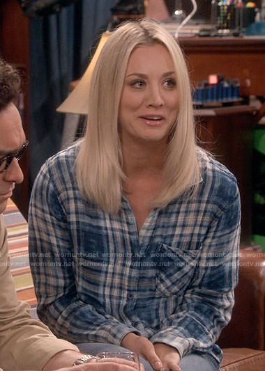 Penny's blue plaid shirt on The Big Bang Theory