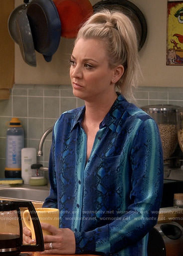Penny's blue snake print shirt on The Big Bang Theory