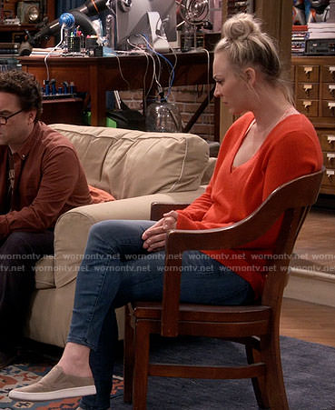 Penny's orange v-neck sweater on The Big Bang Theory