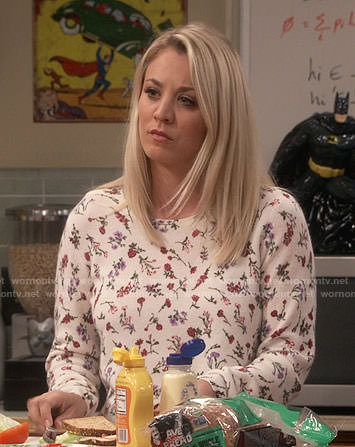 Penny's white floral sweater on The Big Bang Theory