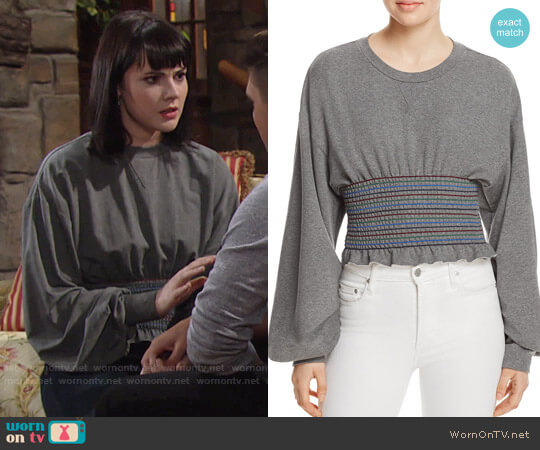 Petersyn Cory Smocked Sweatshirt worn by Cait Fairbanks on The Young & the Restless