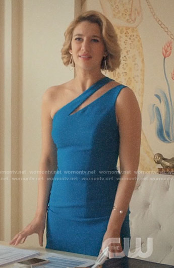 Petra's blue one-shoulder dress with cutout on Jane the Virgin