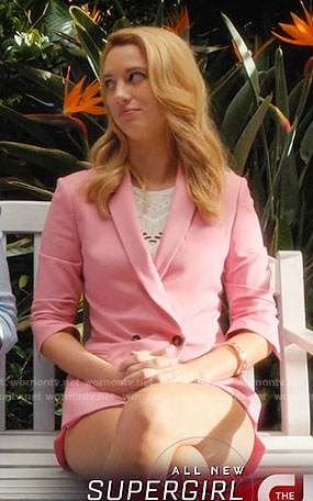 Petra's pink double-breasted jacket on Jane the Virgin
