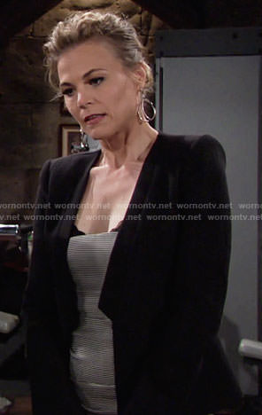Phyllis's black textured jacket on The Young and the Restless