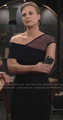 Phyllis's navy mesh asymmetric dress on The Young and the Restless