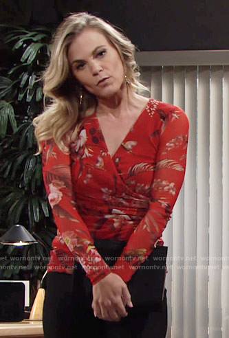 Phyllis's red floral cross front top on The Young and the Restless