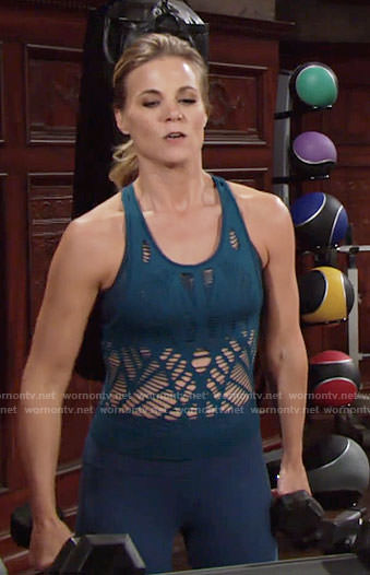 Phyllis's teal mesh top on The Young and the Restless