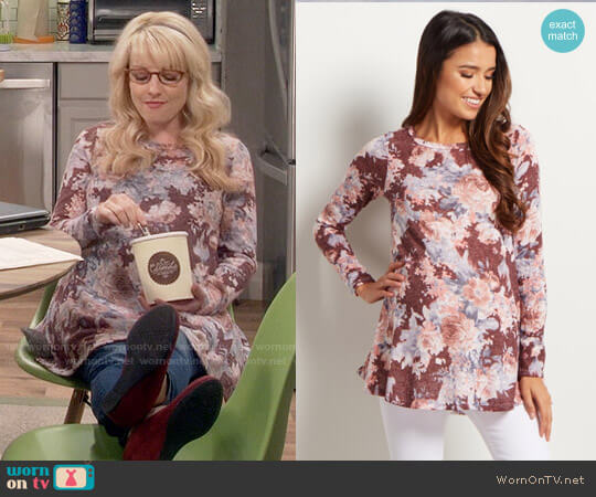 Pink Blush Burgundy Floral Print Maternity Knit Top worn by Bernadette Rostenkowski (Melissa Rauch) on The Big Bang Theory