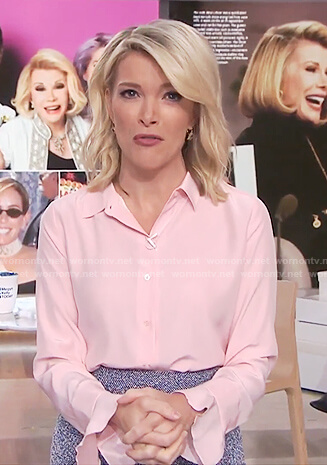 Megyn's pink long sleeve ruffle cuff blouse on Megyn Kelly Today