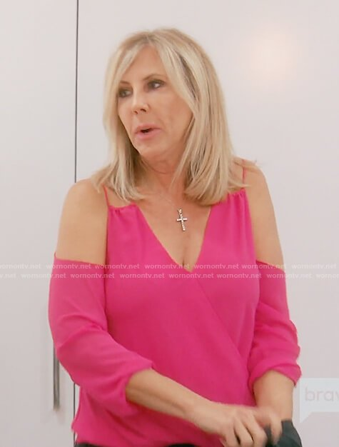 Vicki's pink cold shoulder v-neck top on The Real Housewives of OC
