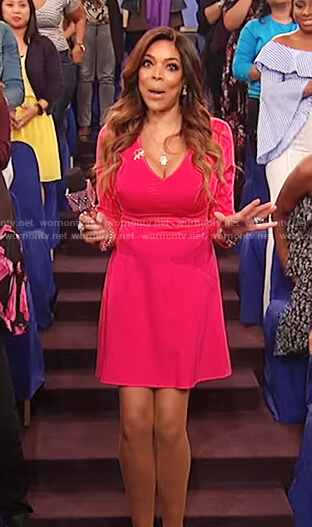 Wendy's pink v-neck fit and flare dress on The Wendy Williams Show