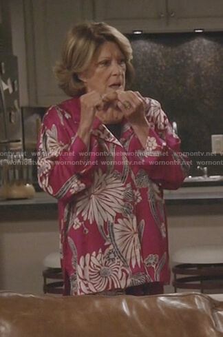 Judy's pink floral silk pajama top on 9JKL