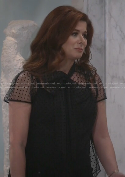 Grace's black mesh bow neck top on Will and Grace