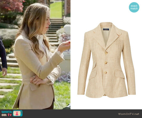 Polo Ralph Lauren Hacking Blazer worn by Elizabeth Gillies on Dynasty