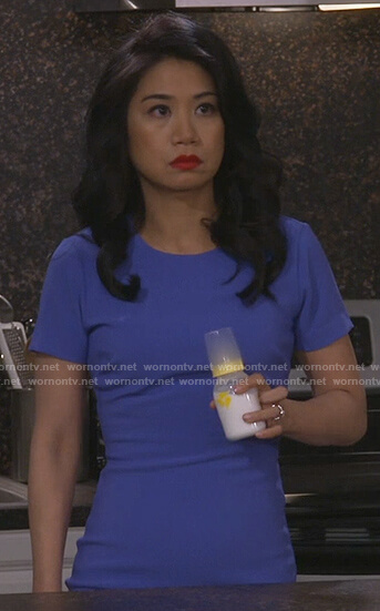 Eve's blue short sleeve mini dress on 9JKL