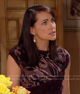 Quinn's purple and black floral top on The Bold and the Beautiful