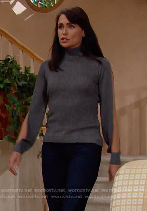 Quinn's grey split-sleeve sweater on The Bold and the Beautiful