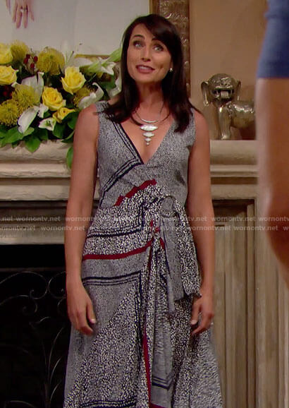 Quinn's printed wrap dress on The Bold and the Beautiful