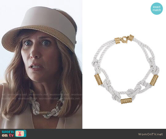 RACHEL Rachel Roy Gold-Tone White Nylon Knotted Collar Necklace worn by Kristen Wiig on Last Man On Earth