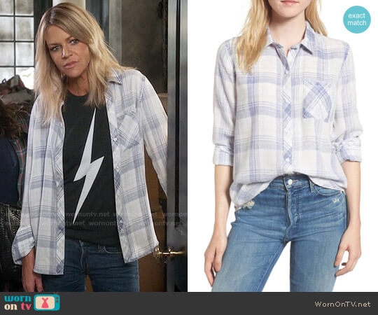 Rails Hunter Shirt in Violet Cloud Wash worn by Kaitlin Olson on The Mick