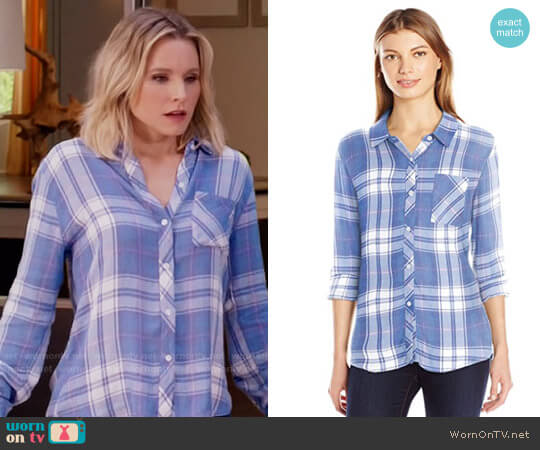 Rails Hunter Shirt in Sky White Candy worn by Kristen Bell on The Good Place