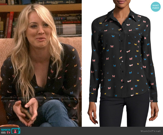 Rails Kate Butterfly Print Shirt worn by Penny Hofstadter (Kaley Cuoco) on The Big Bang Theory