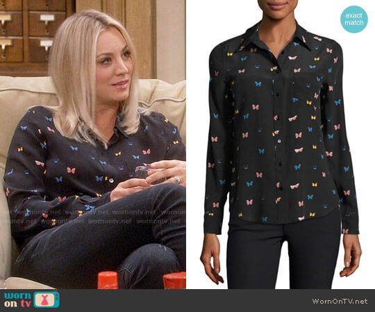 Rails Kate Butterfly Print Shirt worn by Kaley Cuoco on The Big Bang Theory