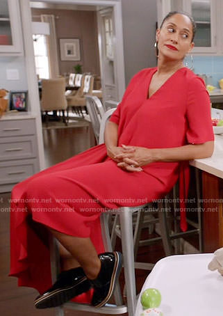 Rainbow's red v-neck midi dress on Black-ish